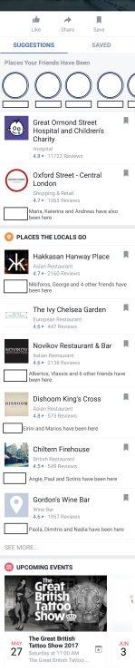 Πως εμφανίζεται το Facebook Travel Guide στην οθόνη του κινητού