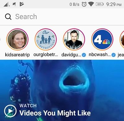 Τα stories δημοφιλών λογαριασμών εμφανίζονται στην ενότητα search