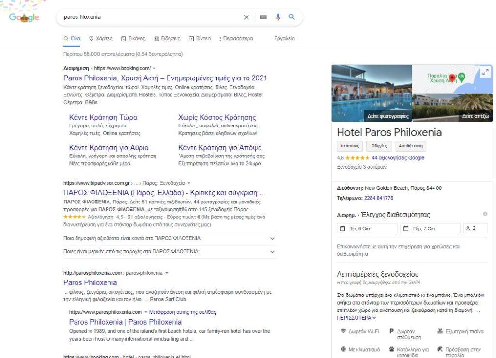 σειρά κατάταξης του Paros Filoxenia στην Google